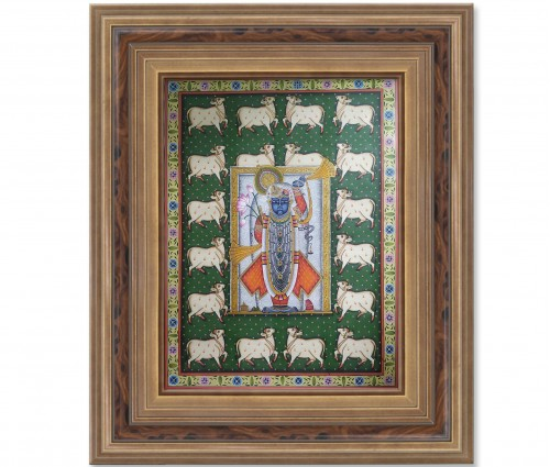 Pichwai Painting On Cloth | Shrinath & Cow 2 | 18x24 Inch
