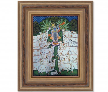 Pichwai Painting On Cloth | Shrinath & Cow 3 | 18x24 Inch