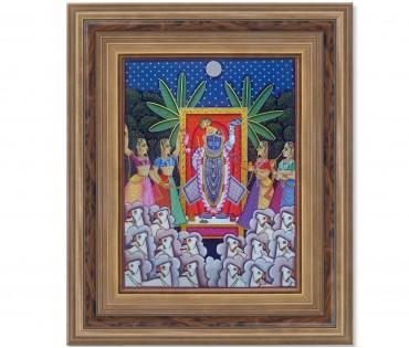 Pichwai Painting On Cloth | Shrinath & Worship 2 | 18x24 Inch