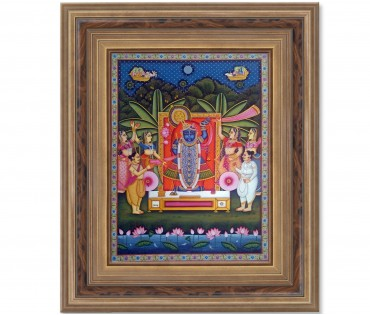 Pichwai Painting On Cloth | Shrinath & Worship 1 | 18x24 Inch
