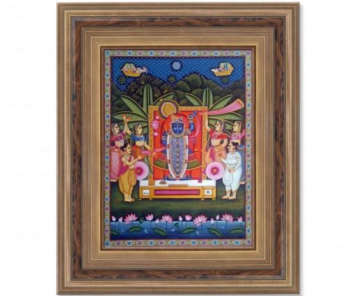 Pichwai Painting On Cloth | Shrinath & Worship 1 | 18x24 Inch