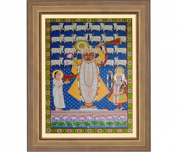 Pichwai Painting On Cloth | Shrinath with cows I 24 x 36
