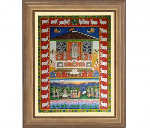 Pichwai Painting On Cloth | Shrinath with cows I 36 x 48