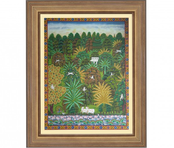Pichwai Painting On Cloth | Nature with Cows I 36 x 48