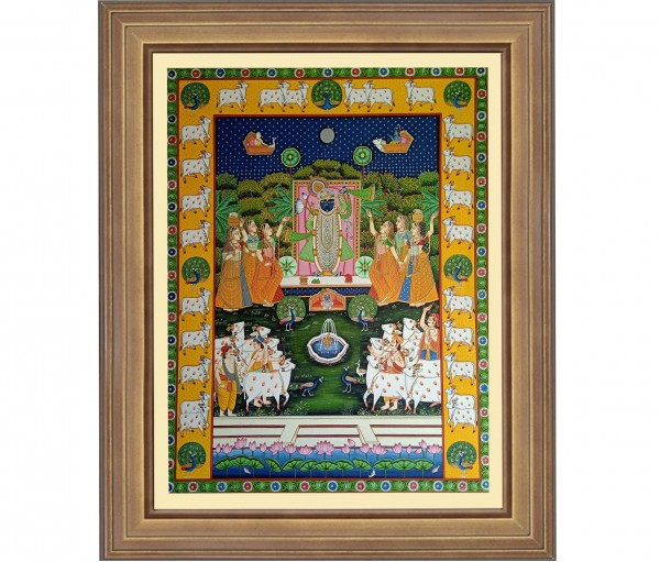 Pichwai Painting On Cloth | Shrinath with Gopis & cows I 36 x 48