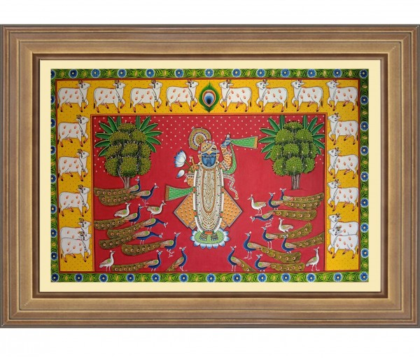 Pichwai Painting On Cloth | Shrinath with Peacock & Cows I 24 x 36 Inch